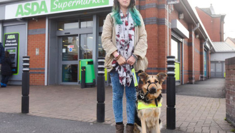 PIC BY IAIN WATTS/MERCURY PRESS (PICTURED: LOUISE CANNON, 34 WITH HER GUIDE DOG HARMONY OUTSIDE ASDA IN STONYCROFT, LIVERPOOL)  A 'mortified' blind woman was told to leave a supermarket by a security guard - for bringing in her guide dog. Louise Cannon, 34, from Liverpool, had the run-in with the overzealous guard while shopping at Asda in nearby Stonycroft at 3pm on Friday with her 12-year-old niece and guide dog Harmony. The charity worker was left 'embarrassed' when her young relative informed her that the security guard was trying to get her attention when she went to pick up a basket.  SEE MERCURY COPY